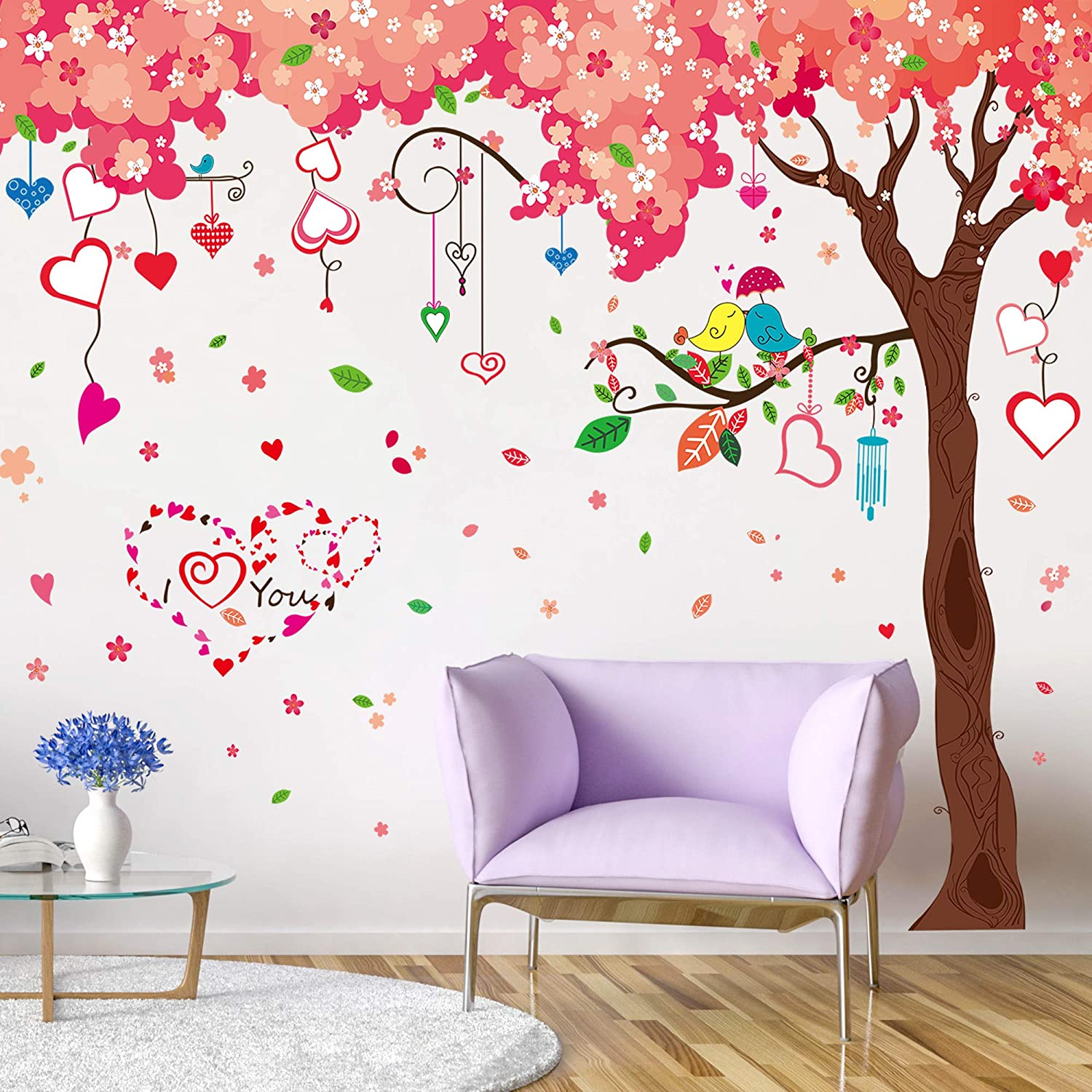Pink /& Red Blossom Tree Wall Sticker WS-41347