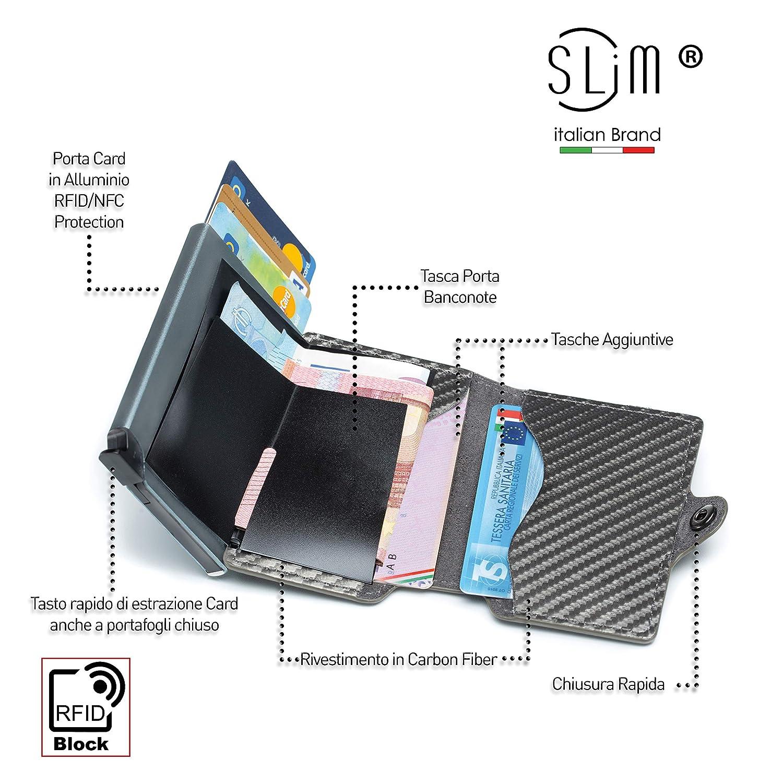 81294a0508 Porta Carte di Credito Schermato, Portafoglio Uomo RFID Slim, Portacarte  Uomo in Pelle e Fibra di Carbonio con Portachiavi Organizer in Carbon Fiber  ...