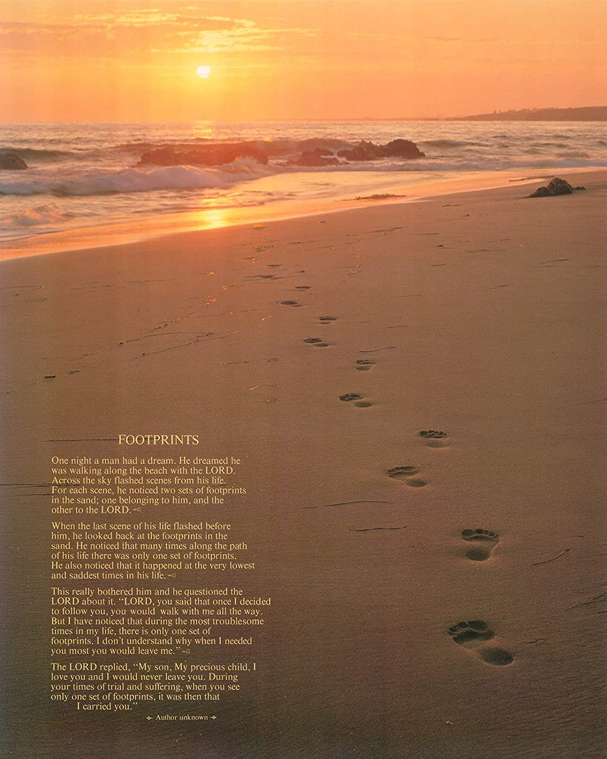 Jesus/'s Footprints in the Sand Art Print Size 16x20 inches