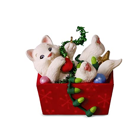 Hallmark Christmas Ornaments.Hallmark Keepsake Christmas Ornament 2018 Year Dated White Cat Mischievous Kittens