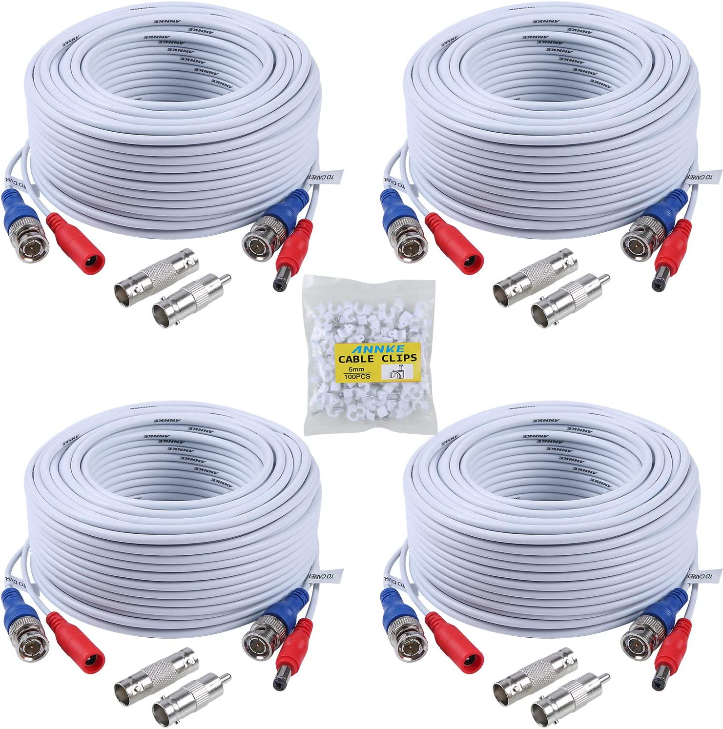 amazon com surveillance camera cables electronicsannke (4) 30m 100ft all in one bnc video power cables