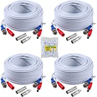 ANNKE (4) 30M/ 100 Feet BNC Video Power Cable For CCTV Camera DVR Security System (4 PackWhite)