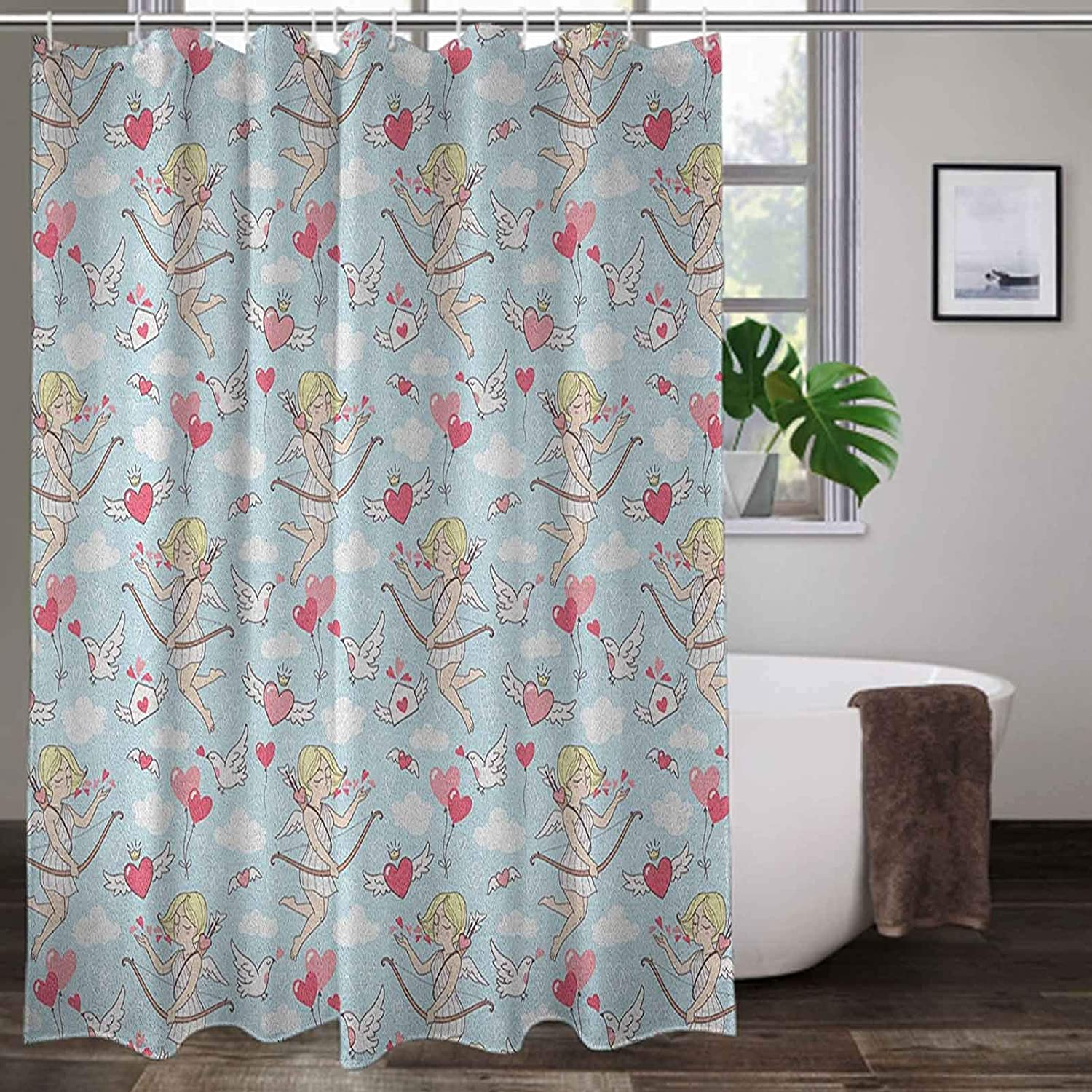 Interestlee Shower Stall Curtain 72 x 72 Inch, Angel Bathroom Decor Curtain - Cupid Girls Winged Hearts Flying in The Sky Doves Clouds Happiness, B Coral Baby Blue White