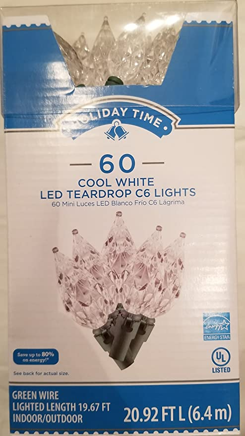 Holiday Time 60 Count LED Teardrop C6 Light Set Cool White by Holiday Time