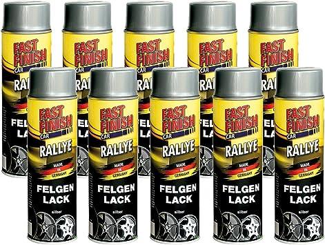 10x 500ml Fast Finish Rallye Felgenlack Felgenspray Felgensilber Silber Spray Baumarkt