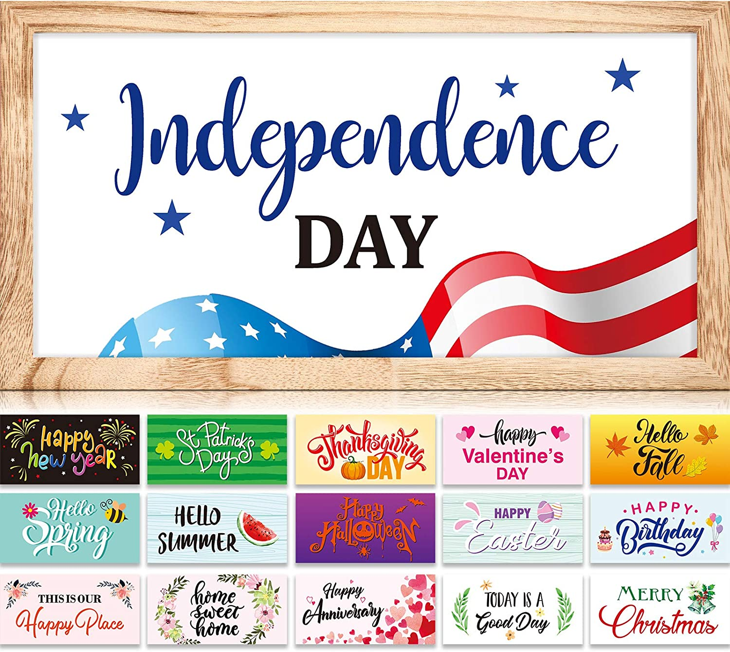 Farmhouse Wood Signs with 16 Interchangeable Seasonal Sayings and Picture Frame Rustic Wooden Wall Hanging Porch Decorations for Easter's Day, Summer, Independence Day, 13 x 7 Inch (Wood Color)