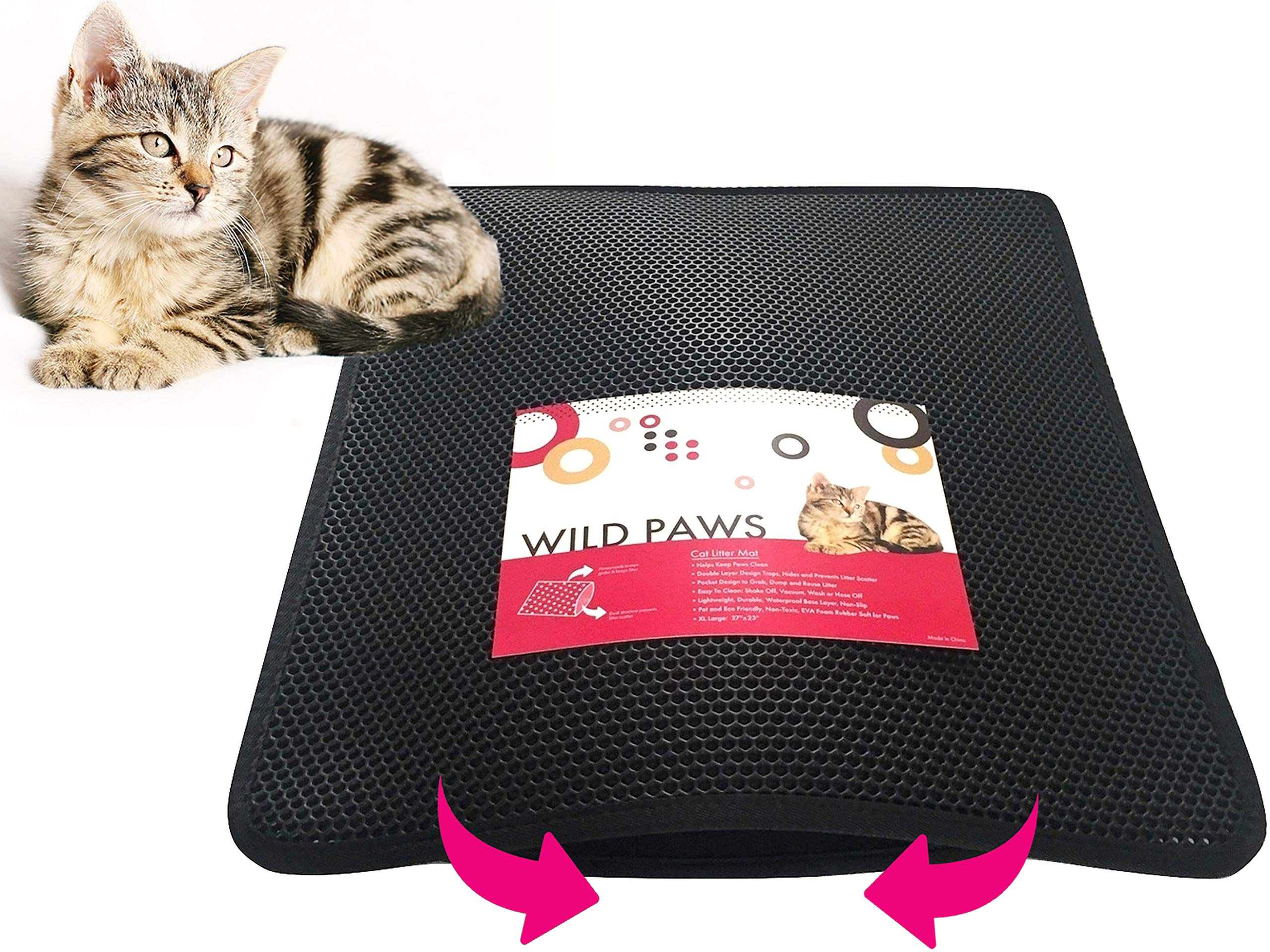 Wild Paws Cat Litter Mat XL Double-Layer Honeycomb Cat Litter Trapper Mat with Waterproof Base Layer ECO and Pet Friendly Non-Toxic Light Weight Soft on Paws EVA Foam Rubber (27 x23 inches)