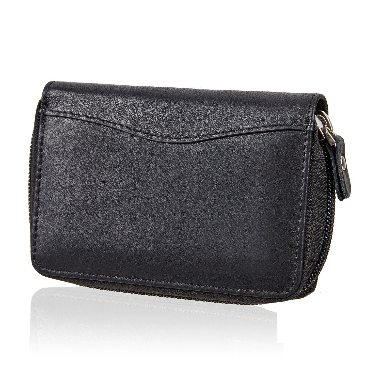 SWISSONA cartera premium hombre con compartimentos para tarjetas y monedero negro