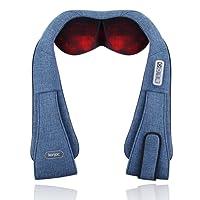Konjac Shiatsu Nackenmassagegerät mit Infrarot Wärmefunktion 3D Rotation für Massage auf Nacken Schulter Rücken für Müdigkeit Lindern Schmerzverlinderung für Hause Büro Auto (blau)