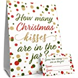 Christmas Party Game - How Many Kisses - Standing Sign and 30 Cards