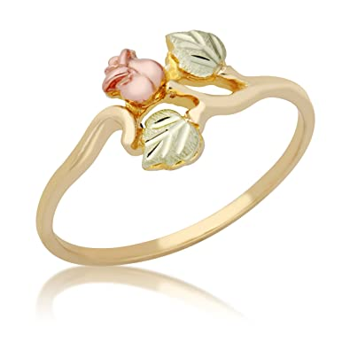 Amazon 12k rose gold floral rose ring in 10k yellow gold 12k rose ring 10k yellow gold 12k green and rose gold black hills gold motif mightylinksfo
