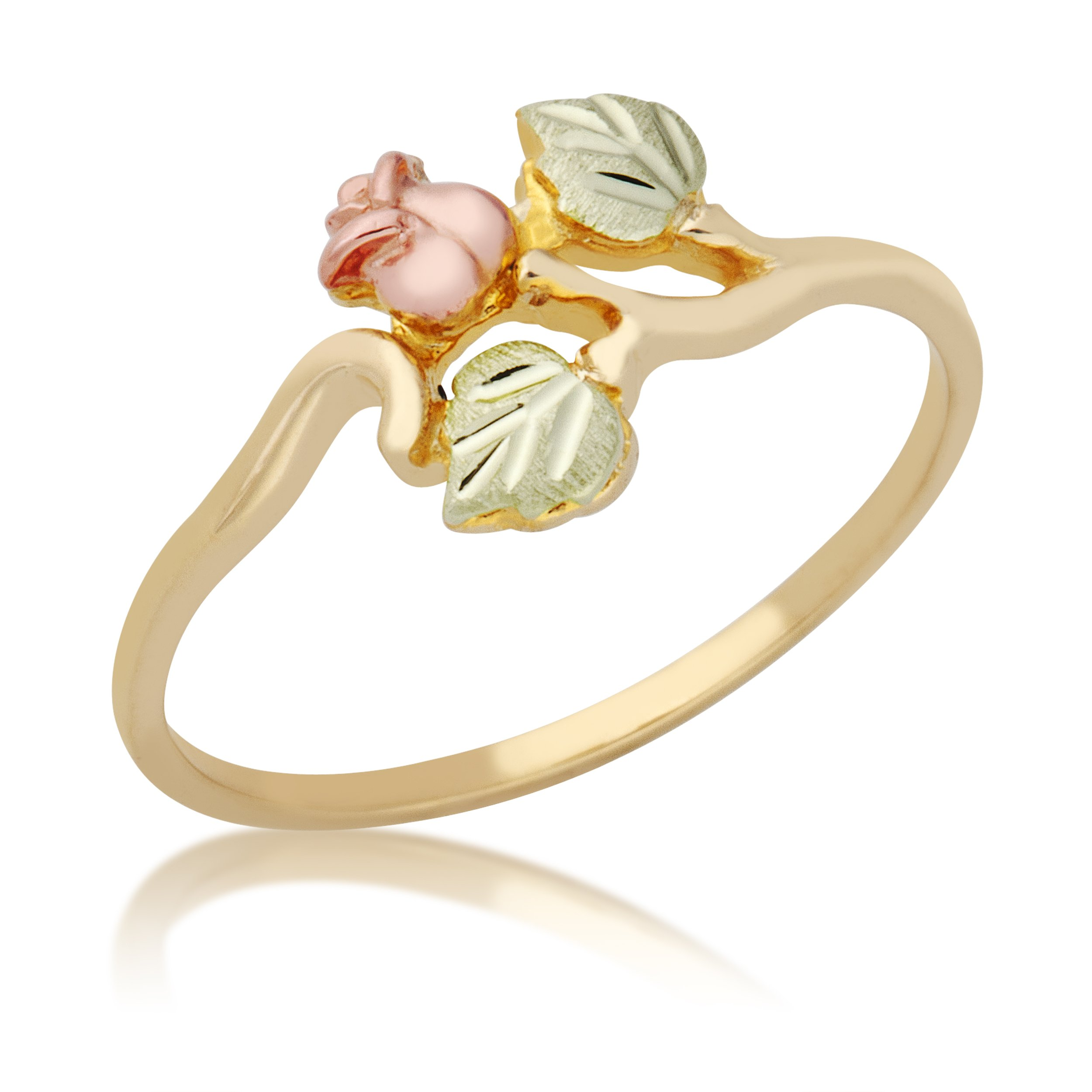 Rosebud Bypass Ring, 10k Yellow Gold, 12k Pink and Green Gold Black Hills Gold Motif, Size 7.5