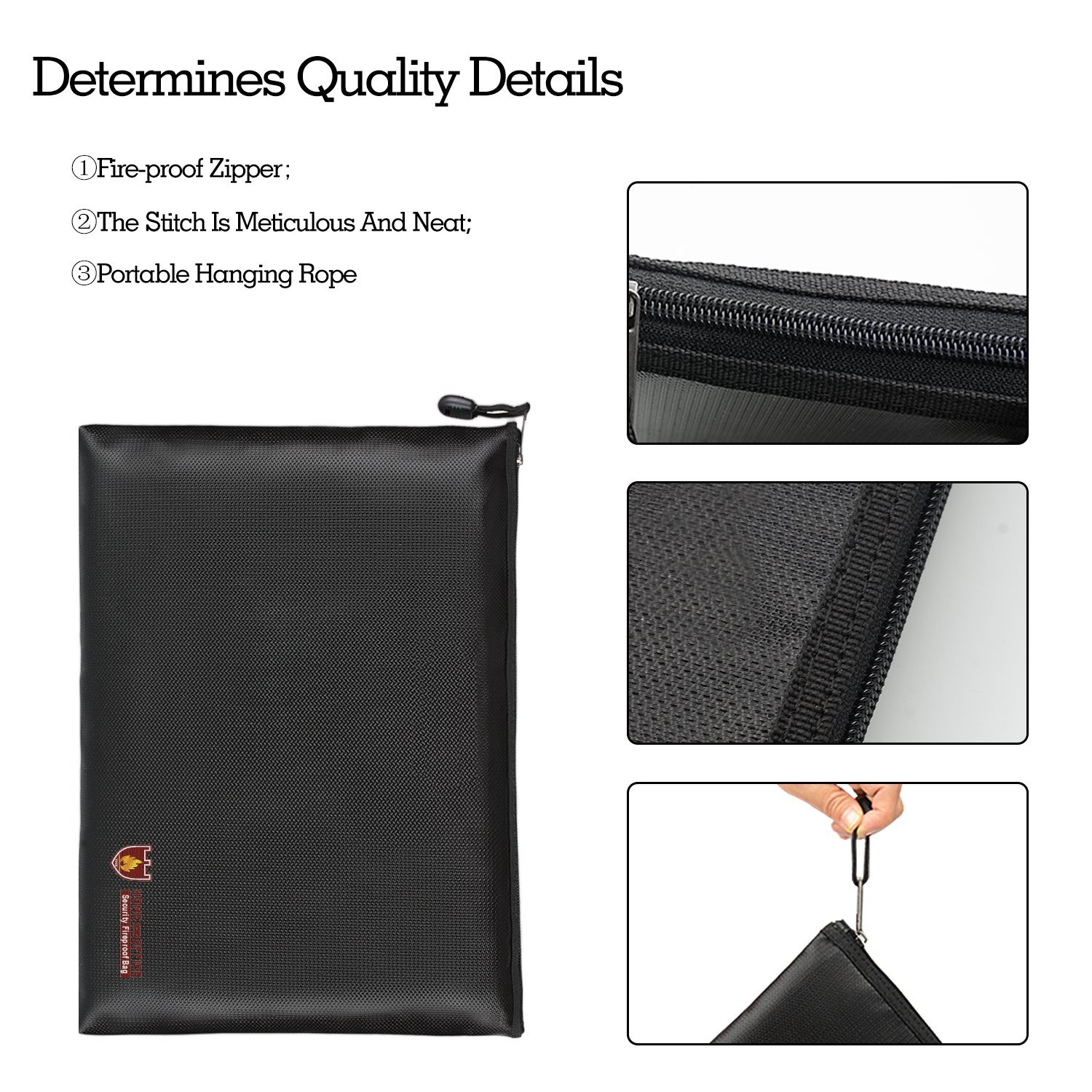 Fireproof A4 File Bag Non-Itchy Zipper and Velcro Closure for File Pouch Silicone Coated Safe Fire&Water Resistant Money Purse (13.5\