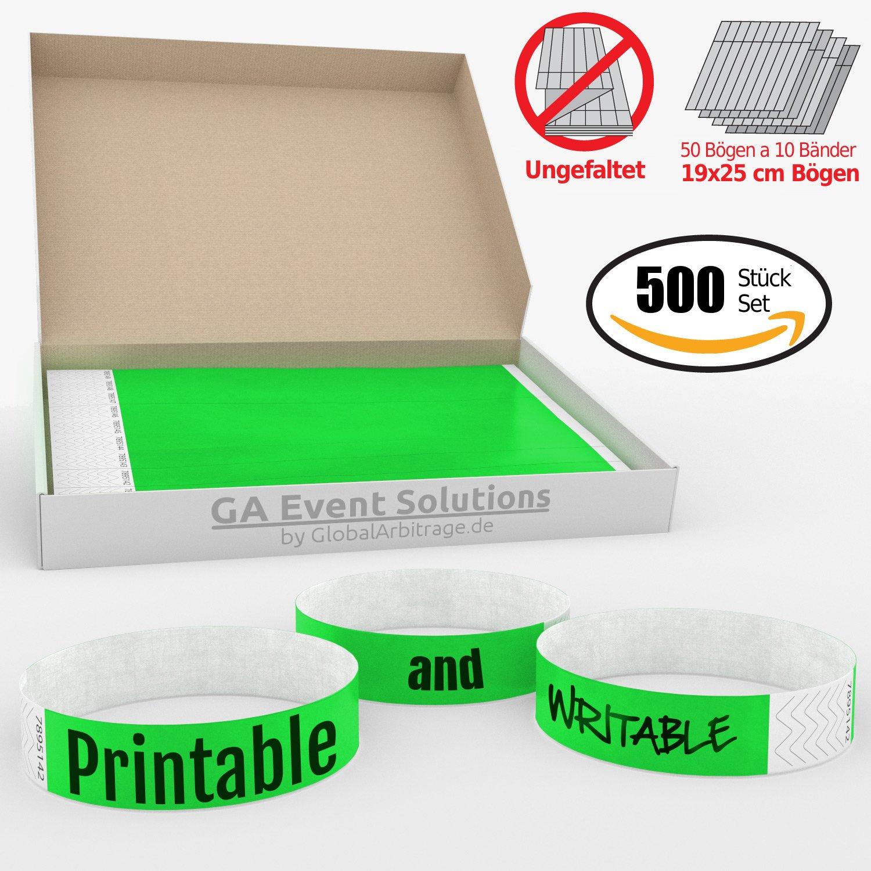 vert Bracelets d/'admission GA Event Solutions en Tyvek 500 pi/èces