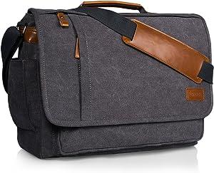 Estarer Computer Messenger bag Water-resistance Canvas Shoulder Bag 15.6 Inch Laptop for Travel Work