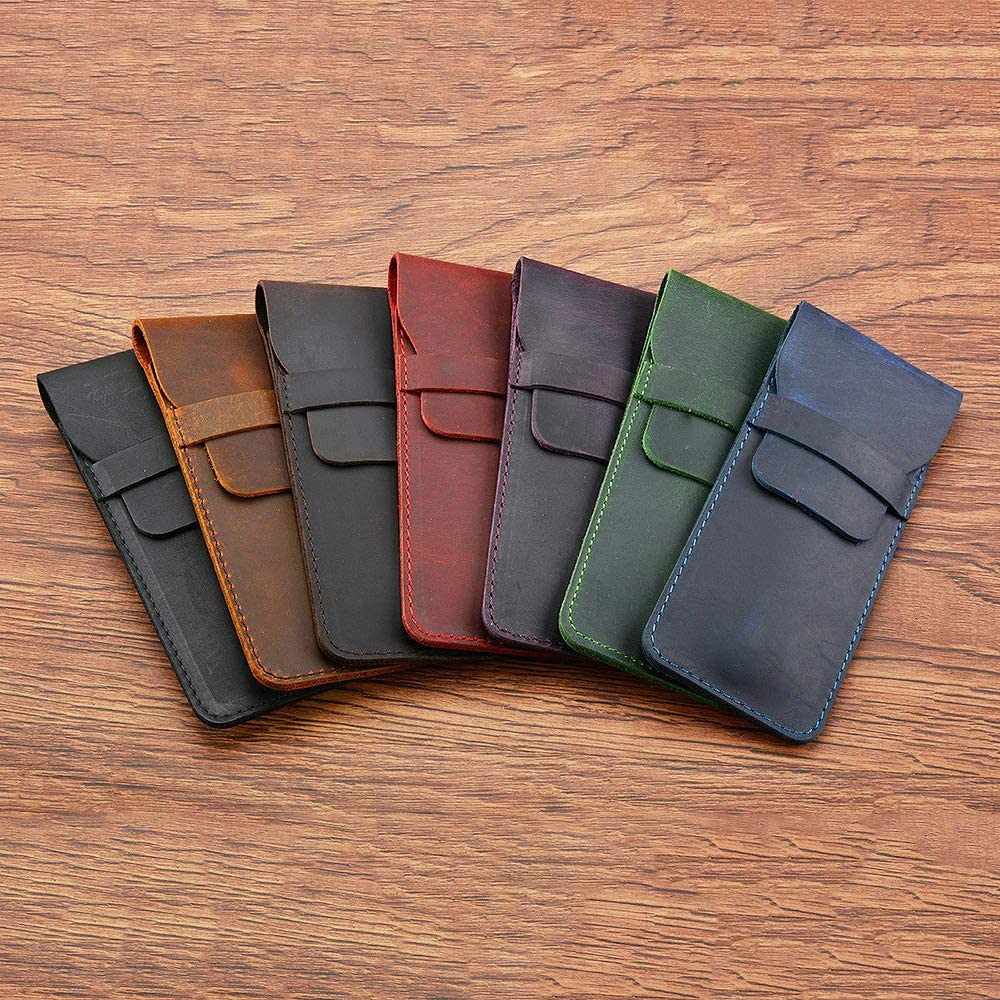 Daimay Leather Pen Case Holder Handmade Fountain Multi Pens Pouch Crazy Horse Leather Pen Protective Sleeve Cover Large Dark Brown