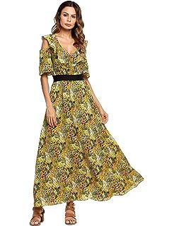 bce895476241 Zeagoo Women Floral Ruffle Split Maxi Dress Cold Shoulder Bohemian Long  Dress