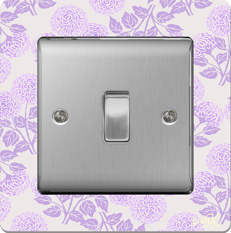 the sticker studio ltd Single Light Switch//Socket Surround Acrylic Finger Plate Lilac Flowers sr30