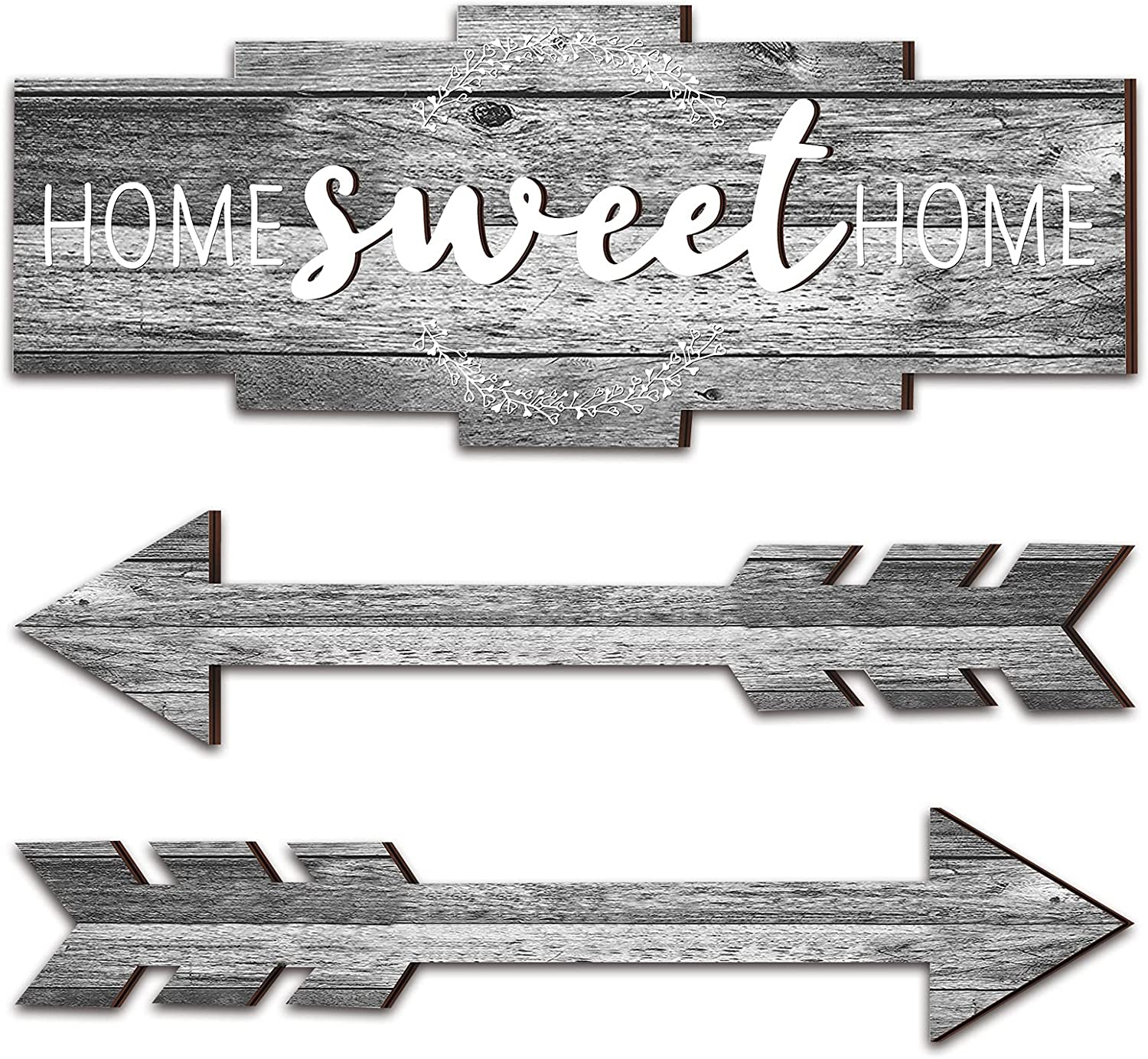 Set of Home Sweet Home Arrow Sign, Rustic Wood Home Wall Decor, Large Farmhouse Arrow Sign Plaque Wall Hanging for Bedroom, Living Room, Party, Wedding Decor (Classic Color)
