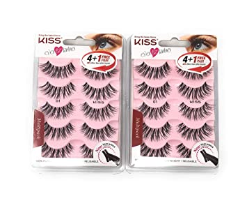 3c87b6d0c64 Amazon.com : Kiss Ever Ez 01 Lashes 4 + 1 Pairs (2 Pack) : Beauty