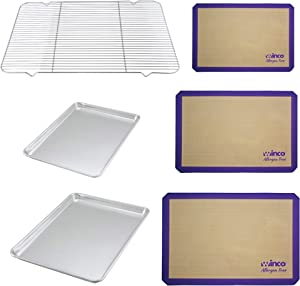 F&T Allergen-Free Silicone Baking Mats + Professional Baking Sheets + Cooling Rack Bundle - Large Cooking Sheets - Heavy Duty Sheets - Non Stick Mats