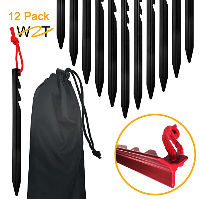 WZT 12 Pcs Tent Stake. Aluminum Alloy pegs Camping, rain tarps, Hiking, Backpacking. Essential Camping & Survival Gear. ENO Accessory.