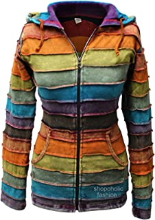 Shopoholic Fashion Women Stone Washed Rainbow Rib Hoodie