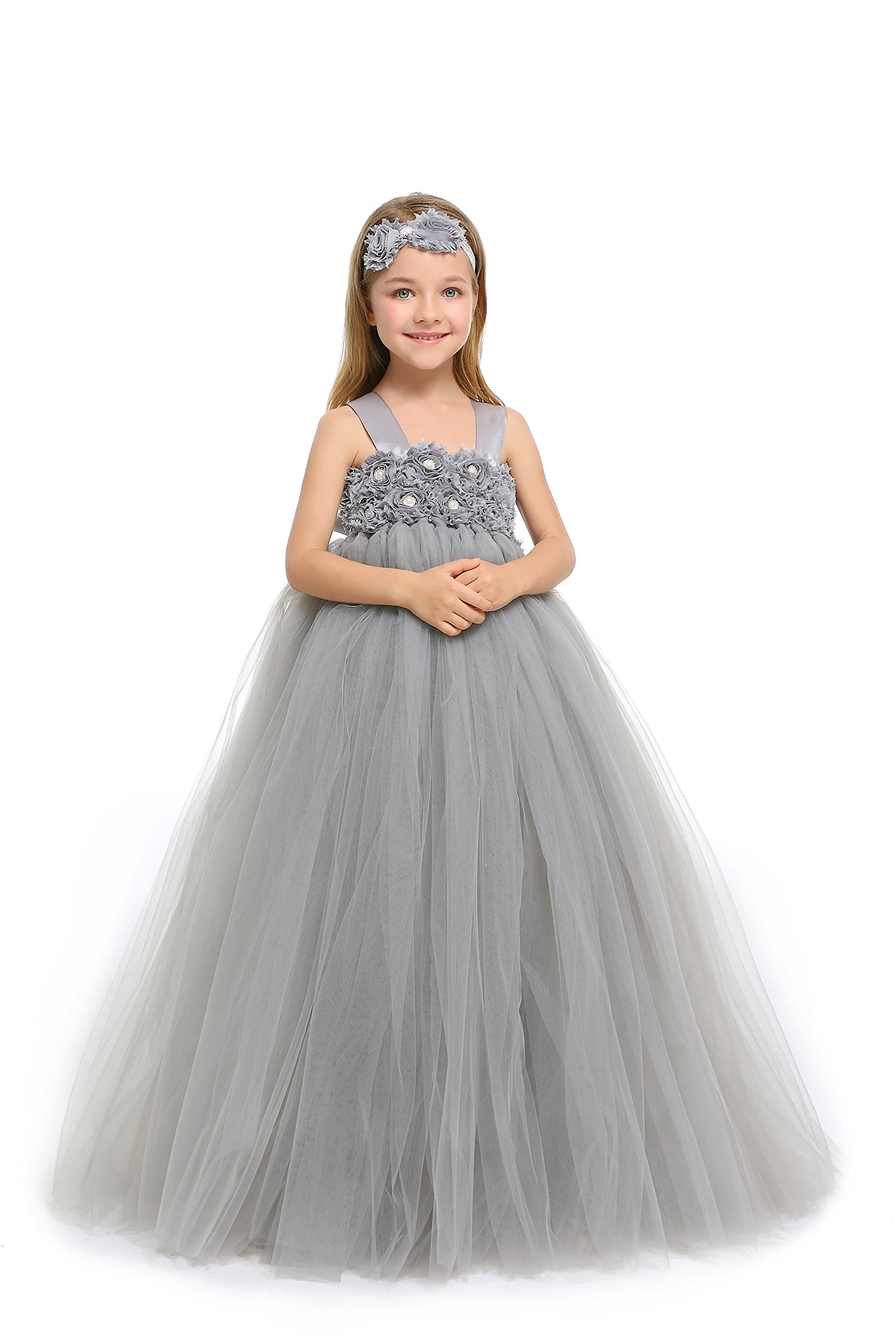 MALIBULICo Fluffy Flower Girl Tutu Dress with Matching Headband for Wedding and Birthday Party by MALIBULICo (Image #5)
