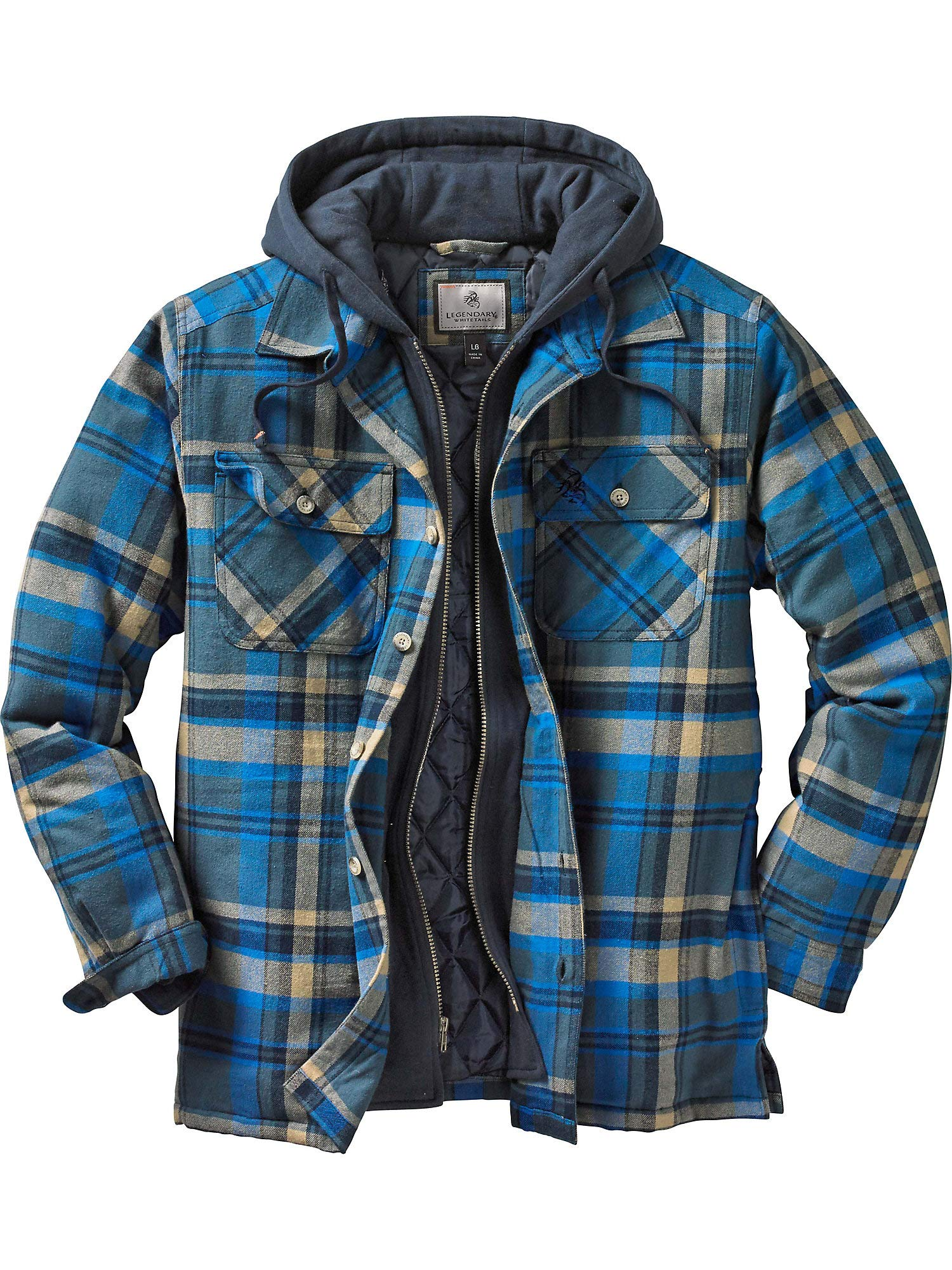 Legendary Whitetails Maplewood Hooded Shirt Jacket, Slate Hatchet Plaid, XXXXX-Large by Legendary Whitetails