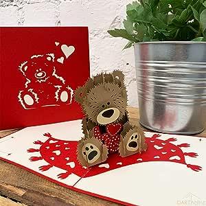 Tarjeta de felicitación 3D hecha a mano, diseño romántico