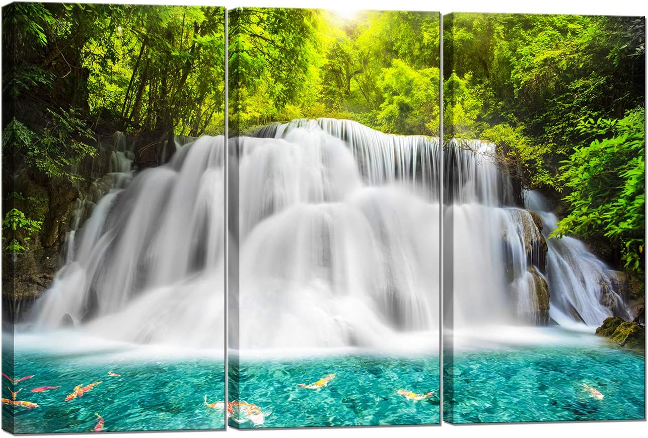 Nachic Wall 3 Piece Picture Canvas Prints Forest Waterfall at Sunrise Painting Wall Art Spring Nature Landscape Canvas Artwork Giclee Print Modern Living Room Wall Decoration Framed Ready to Hang