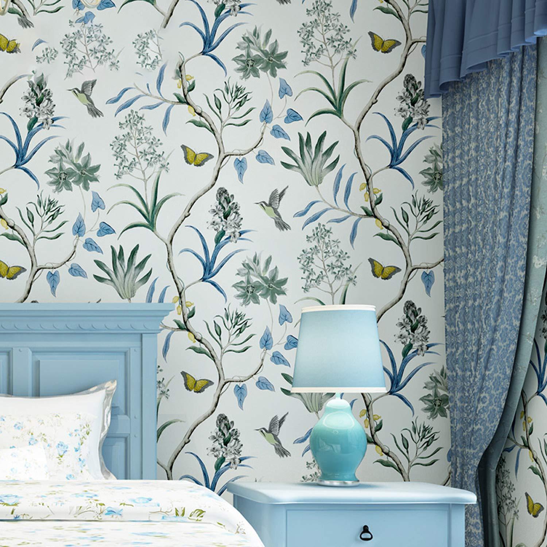Papel pintado para pared de dormitorio con dise/ño de flores y mariposas tropicales color rosa Chinoiserie multicolor