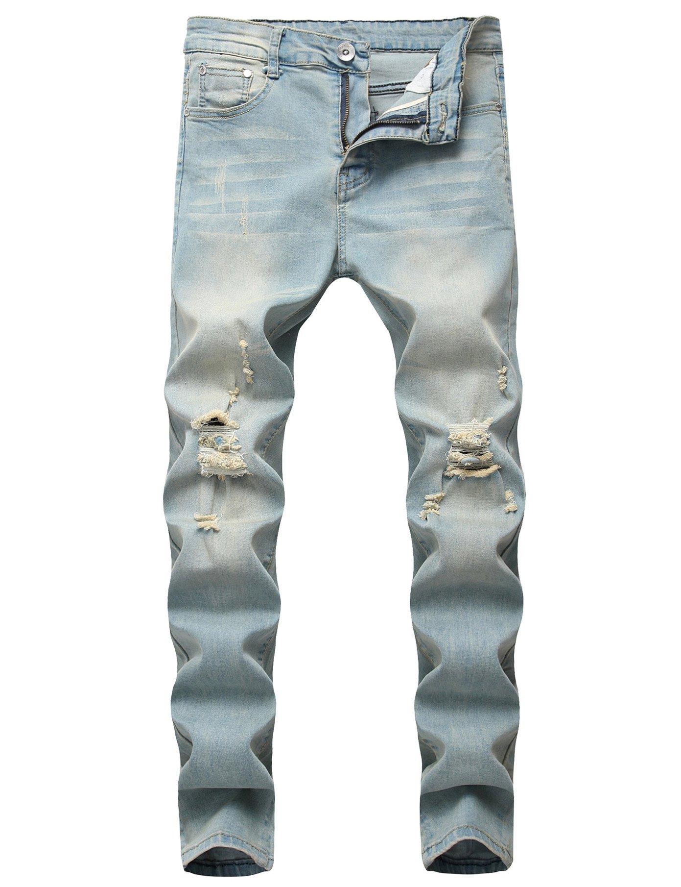 Senken Choice Men's Ripped Destroyed Distressed Knee Holes Slim Skinny Jeans Light Blue 34