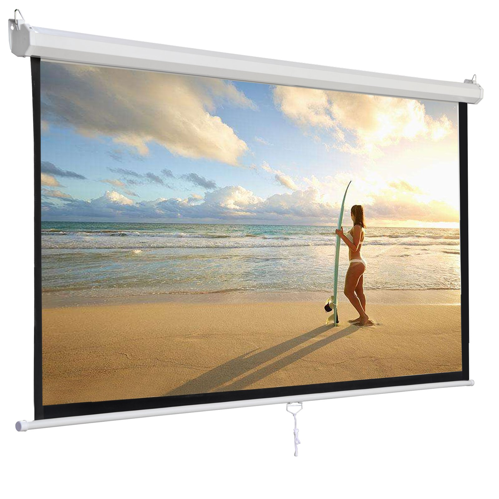ZENY 119'' L Manual Projector Projection Screen Pull Down Screen Portable Projector Movies Screen for Home Theater Outdoor Indoor