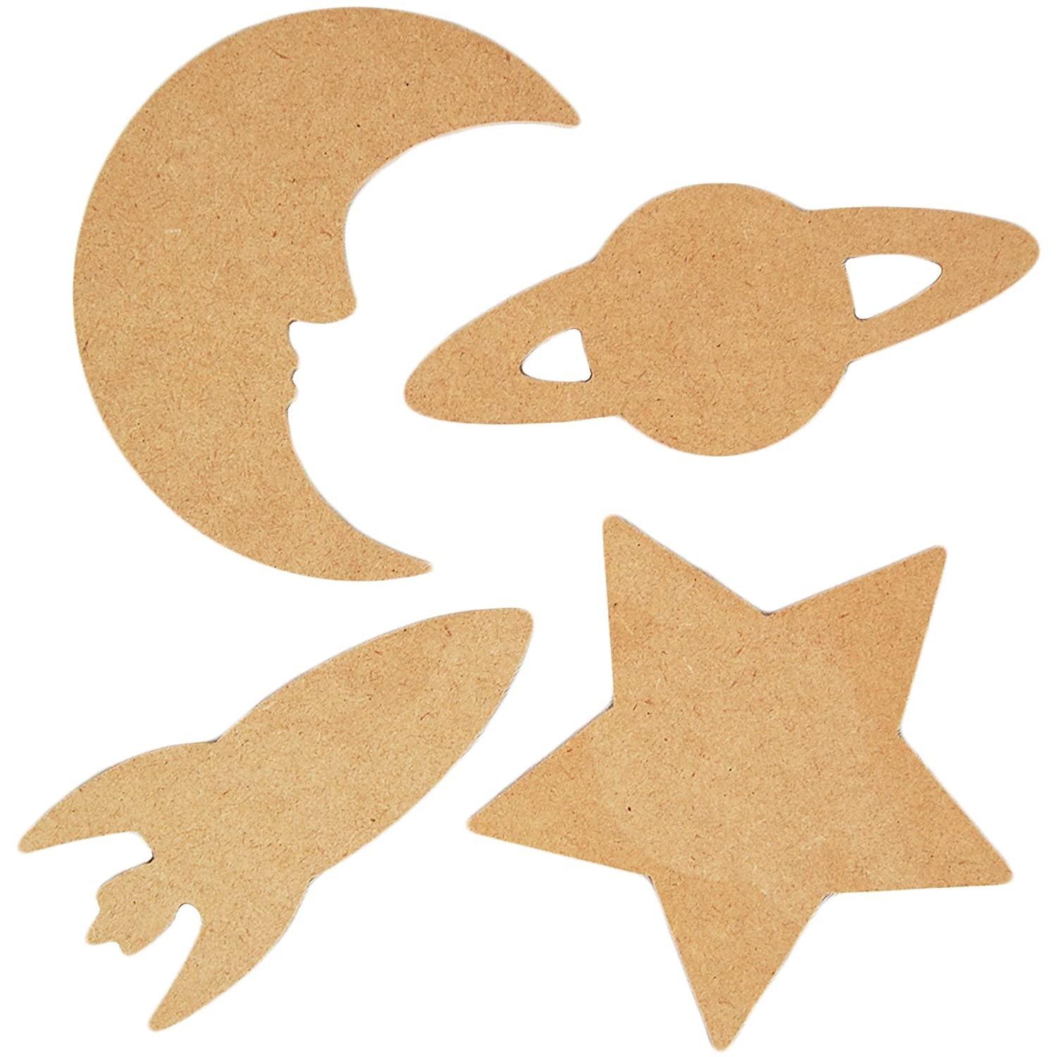 Country Love Crafts 4 Space Themed Wooden Craft Blanks, Light Brown CLW0018