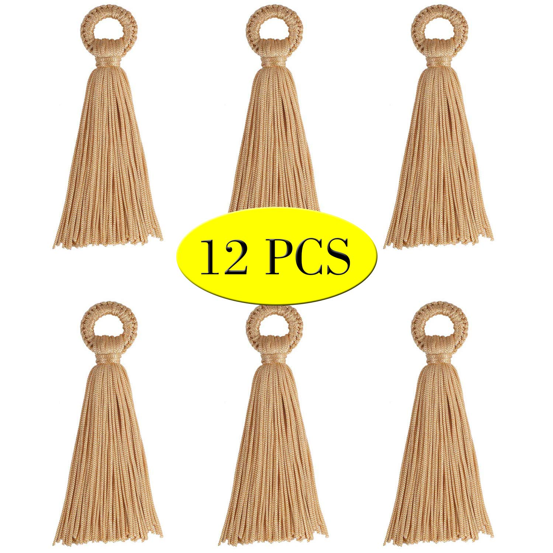 Wholesale 12PCS Large Black Tassel Handmade Soft Silk DIY Tassels Bulk for Craft and Jewelry Making