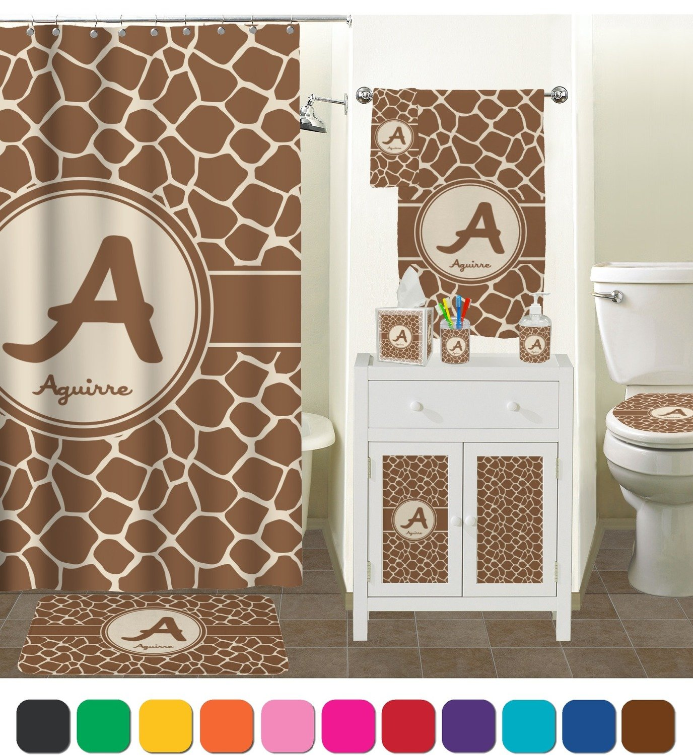 Attirant Amazon.com: Giraffe Print Bathroom Accessories Set (Ceramic)  (Personalized): Home U0026 Kitchen