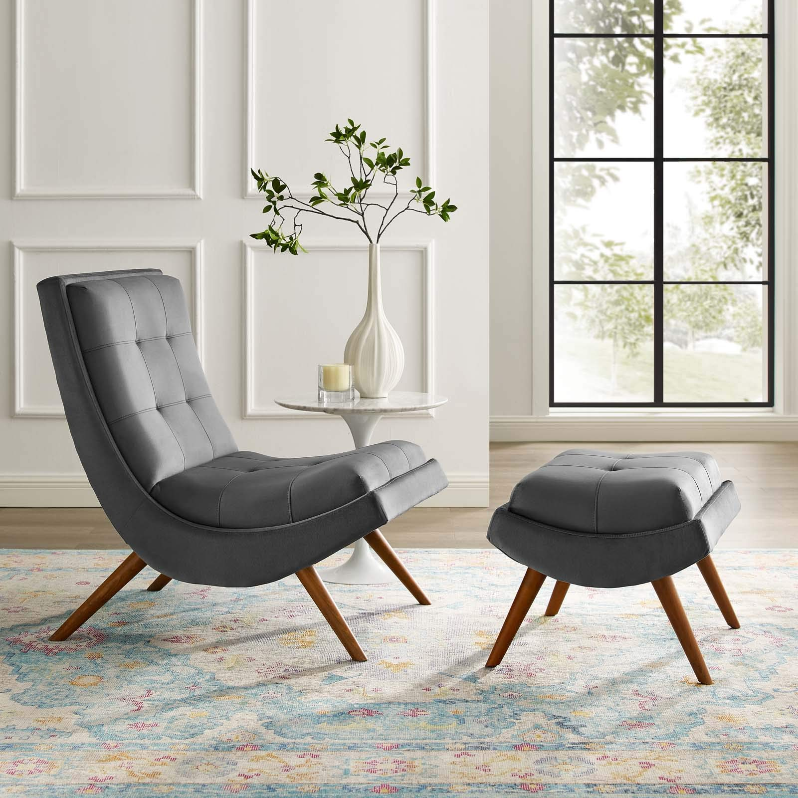 Modway Ramp Biscuit Tufted Performance Velvet Living Room Lounge Chair and Ottoman Set in Gray by Modway