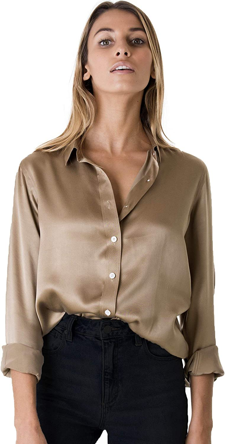 Women Silk Satin Shirt Long Sleeve Formal Work Shiny Blouse Top Elegant Pink New
