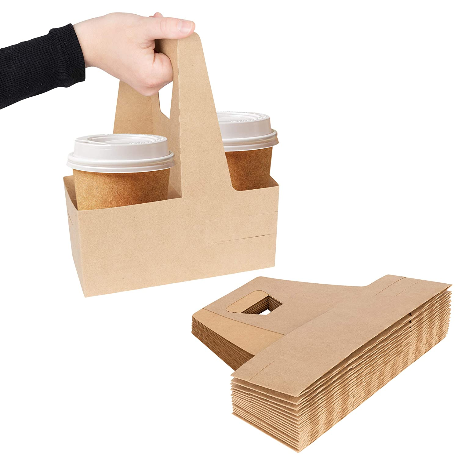 2 Cup Disposable Drink Carrier with Handle (25 Count) - Kraft Paperboard Cup Holder - Disposable Cup Holder for Hot or Cold Drinks - To Go Coffee Cup Holder for Food Delivery Service, Uber Eats