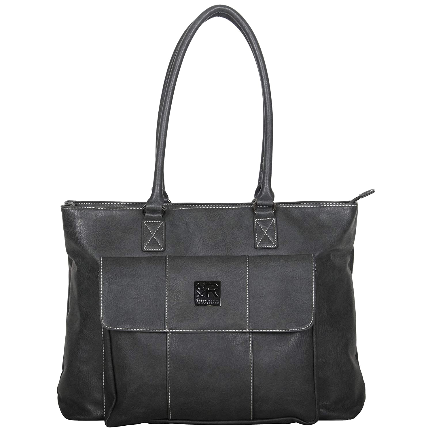 "Kenneth Cole Reaction Women's Casual Fling Pebbled Faux Leather Top Zip 16"" Laptop Business Travel Tote, Charcoal"