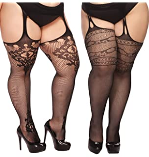 80798c8a2 TGD Plus Size Stockings for Women Suspender Pantyhose Fishnet Tights Black  2 Pairs Thigh High Stocking