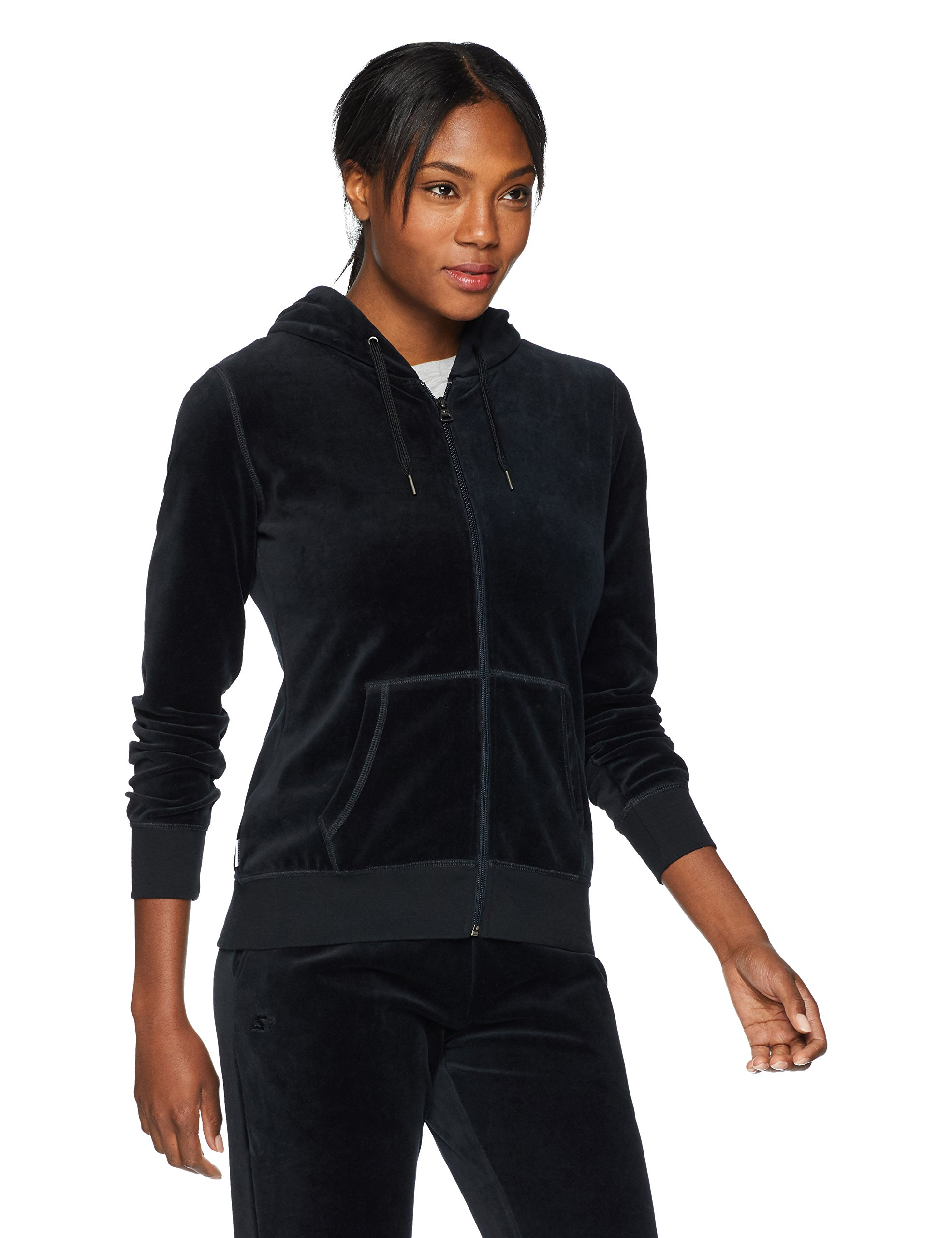 Starter Women's Velour Track Jacket with Hood, Prime Exclusive, Black, Extra Large