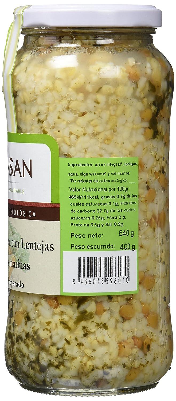 Bionsan Arroz Integral con Lentejas y Algas - 4 Paquetes de 400 gr - Total: 1600 gr: Amazon.es: Alimentación y bebidas
