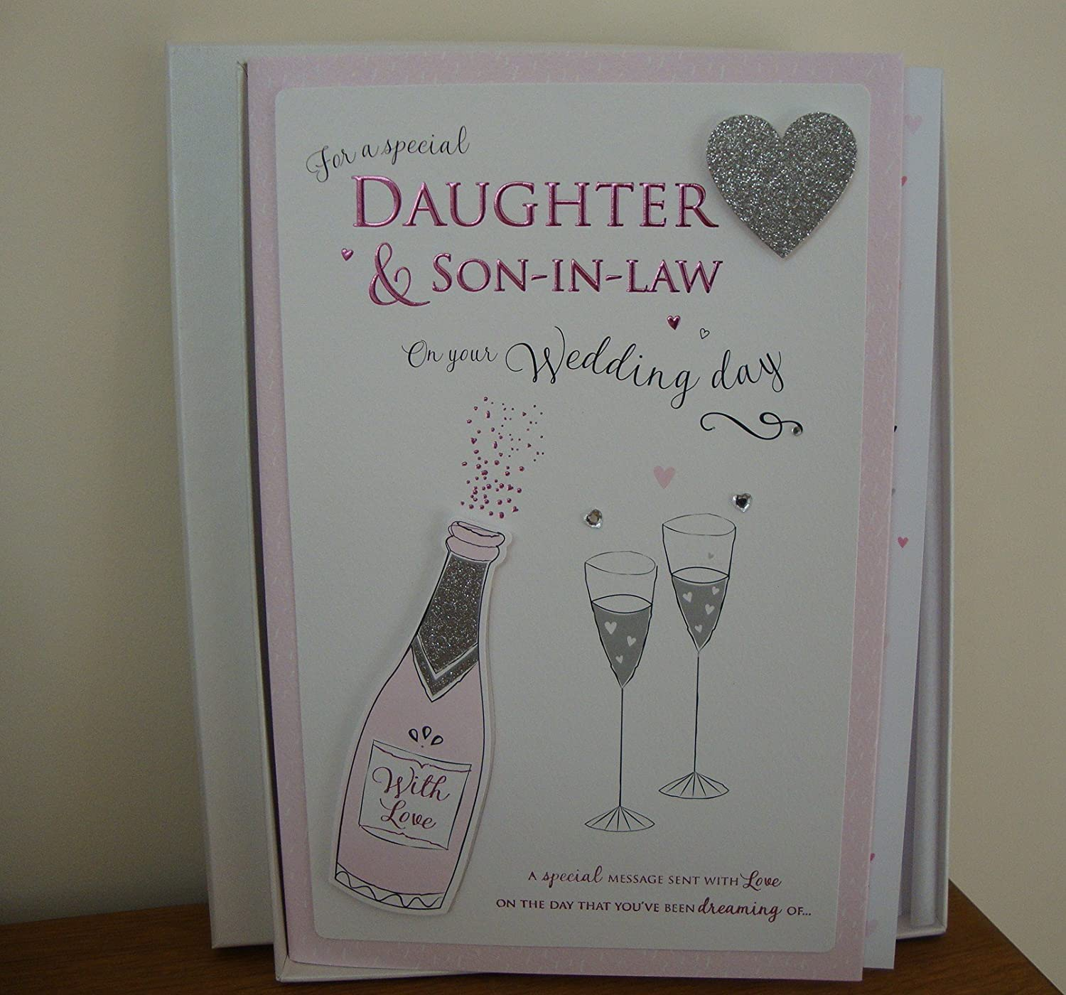 For A Special Daughter And Son In Law Wedding Day Boxed Large Card Amazoncouk Office Products