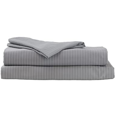 Hotel Sheets Direct 100% Egyptian Cotton 4 Piece Bed Sheet Set - Luxurious Sateen Weave - Ultimate Softness (Grey Stripe, Queen)