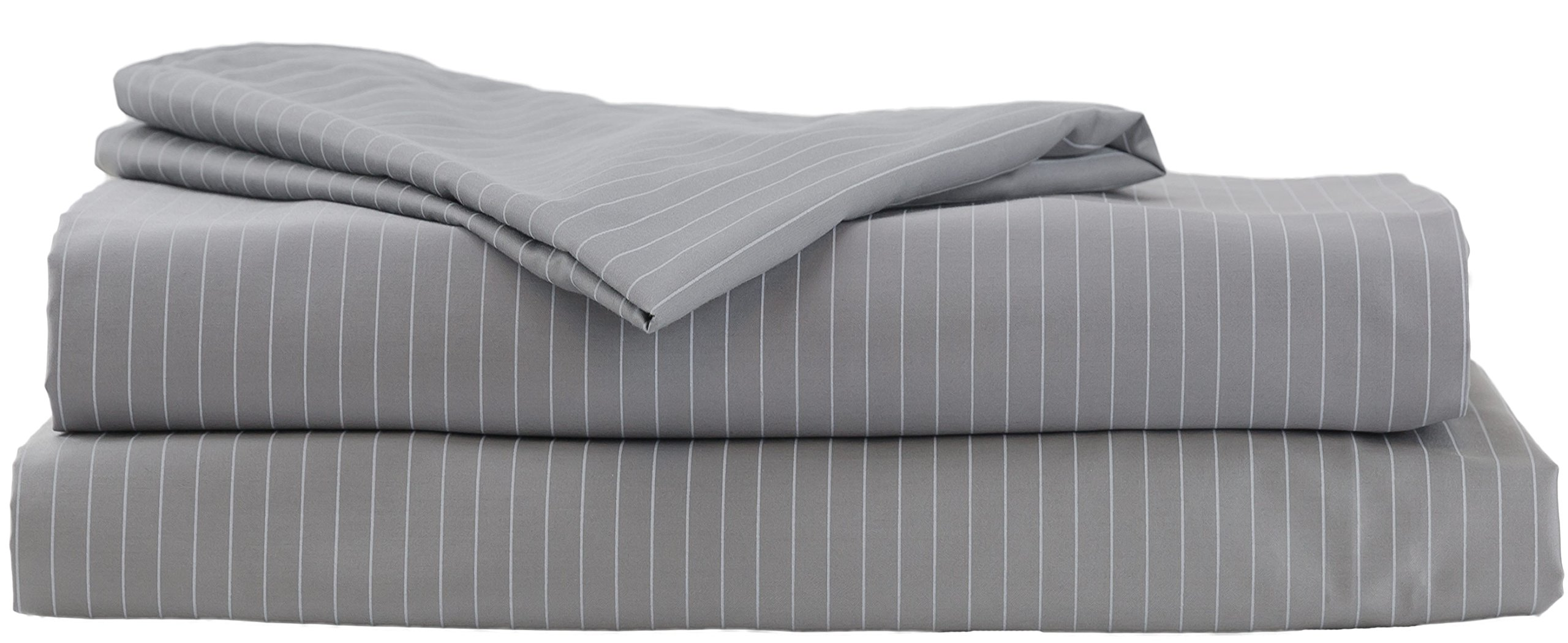 Hotel Sheets Direct 100% Egyptian Cotton 4 Piece Bed Sheet Set - Luxurious Sateen Weave - Ultimate Softness (Grey Stripe, King) - 100% Egyptian Cotton Bed Sheet Set Includes Fitted Sheet, Flat Sheet, and 1 Pillowcase SUPER HIGH THREAD COUNT - 600 Thread Count in Sateen Weave and Single Picked for Extra Durability. Updated Spring 2018 to be more soft, thicker, and more durable 100% Organic Cotton Used and Oeko-Tex certified to be free of harmful chemicals - sheet-sets, bedroom-sheets-comforters, bedroom - 81ydbce9ioL -