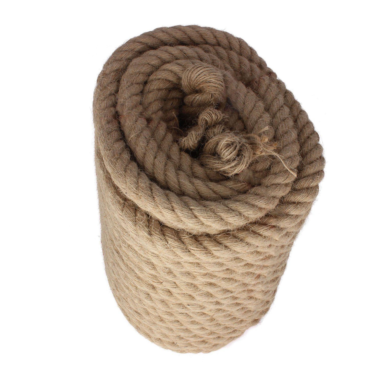 Twisted Manila Rope Jute Rope 100 Feet Natural Jute Twine Hemp Rope 1 Inch Diameter Twine Burlap Rope XUREN