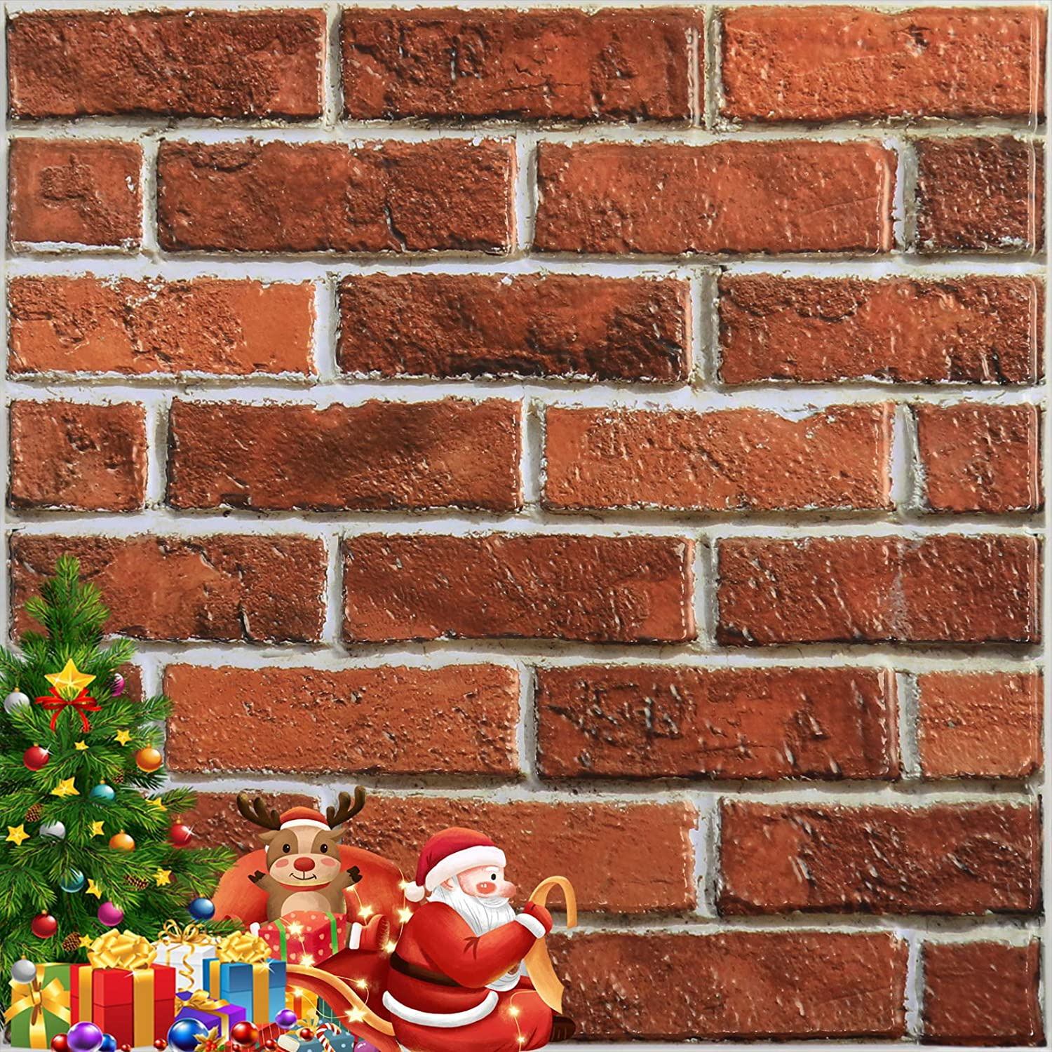 """Yenhome 3D Brick Wall Panels for Interior Wall Decor 11.8""""x11.8"""" Red Brick Wallpaper for Christmas Fireplace Home Decoration Self Adhesive Peel and Stick Wall Tile Foam Wall Sticker Bedroom 12 Pack"""