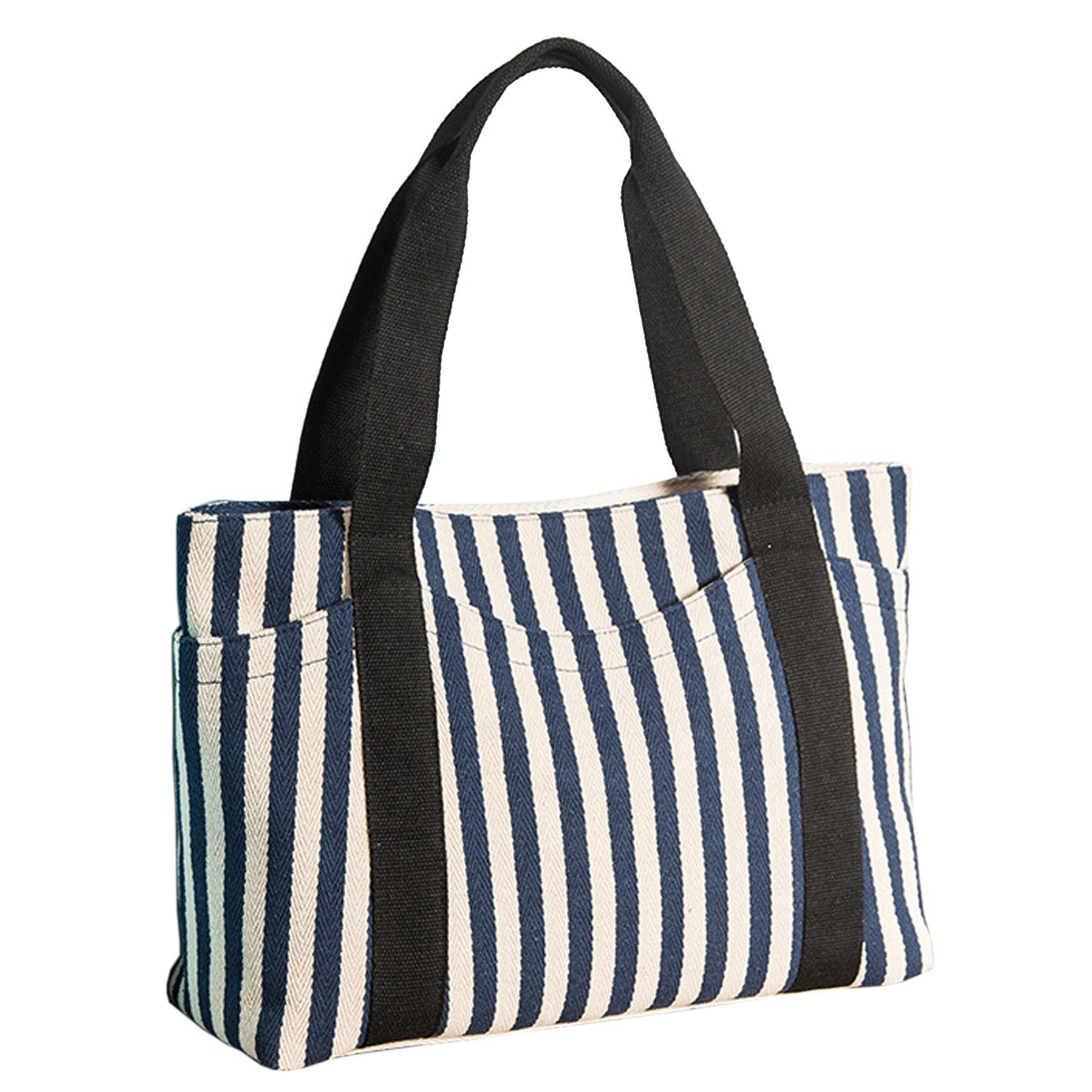 Lavogel Women's Tote Bag Striped Canvas Shoulder Bags Top Handle Beach Handbag (Blue)